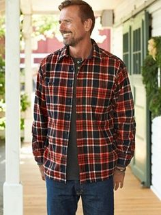 Game Day shirt with button-through pockets, square hem.  Umatilla pure virgin wool woven in our American mills Machine wash Imported of USA fabric