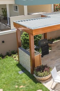 Pool House Designs, Backyard Patio Designs, Backyard Landscaping, Modern Backyard, Outdoor Pergola, Outdoor Decor, Outdoor Rooms, Patio Decorating Ideas On A Budget, Outdoor Living