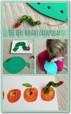 This is really great - a way to make threading easier and more FUN for little hands!  Threading activities to go with The Very Hungry Caterpillar by Eric Carle  #kids #crafts