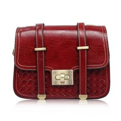 Retro Hasp and Weaving Design Women's Shoulder Bag