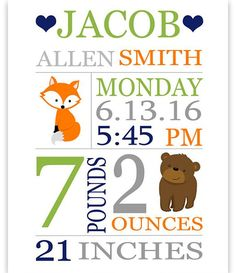 Woodland Birth Stats Print Boy Birth Stats Baby Name Art Custom Baby Gift Personalized Baby Gift Birth Announcement Baptism Boy Decor Birth Stats Prints Birth Announcement Template, Birth Announcement Girl, Birth Announcements, Custom Baby Gifts, Personalized Baby Gifts, Baby Name Art, Boy Decor, New Baby Products, Prints