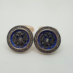 Imperial-Russian-Blue-Guilloche-Enamel-Genuine-Diamond-Solid-56-Lot-22D