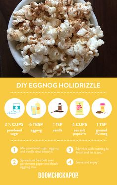 Take some BOOMCHICKAPOP Sea Salt and make your own Eggnog Holidrizzle Popcorn! Healthy Popcorn, Popcorn Recipes, Sweets Recipes, Just Desserts, Healthy Snacks, Sugar Popcorn, Puppy Chow, Sea Salt, Sweet Stuff