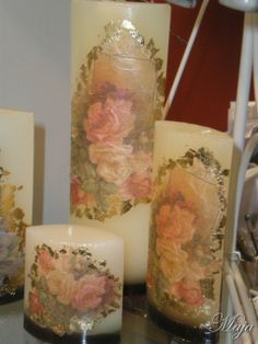 Candles with decoupage ~ Κεριά με decoupage