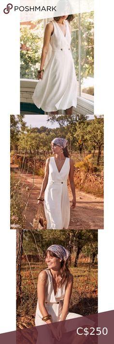 NWOT Sézane Mathilda Ecru Midi Dress ✨NWOT ✨Purchased Summer 2019 ✨Sleeveless midi dress ✨Wrap front fastened by a button at the side ✨V-neck ✨Length: 45.5 in ✨Size 38 Sezane Dresses Midi Sequin Midi Dress, Grey Midi Dress, Striped Dress, Chiffon Ruffle, Chiffon Skirt, Floral Print Shirt, Light Blue Jeans, Dress Size Chart Women, Flare Dress