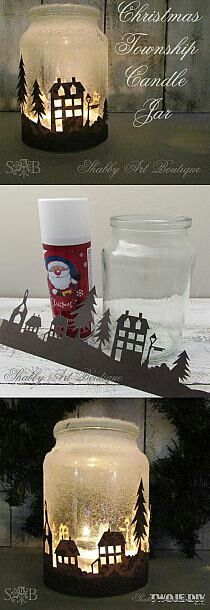 photophore noel & papier decors Quick and easy candle jar that will look amazing when illuminated at night. Noel Christmas, Christmas Projects, All Things Christmas, Winter Christmas, Handmade Christmas, Christmas Ornaments, Christmas Ideas, Christmas Candles, Halloween Christmas