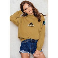 Adidas Vintage Sweatshirt ($66) ❤ liked on Polyvore featuring tops, hoodies, sweatshirts, brown top, adidas, brown sweatshirt, vintage sweatshirts and adidas sweatshirt