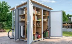 Gartenhaus Not a traditional shed, but rather a closet. Wood Storage Sheds, Outdoor Storage Sheds, Outdoor Sheds, Outdoor Rooms, Garden Gazebo, Backyard Sheds, Garden Structures, Outdoor Structures, Traditional Sheds