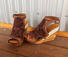 pinterest // lilyxritter Leather Wedge Sandals, Leather Wedges, Shoes Sandals, Heels, Leather Tooling, Tooled Leather, Custom Made Shoes, Handmade Leather, Hand Tools
