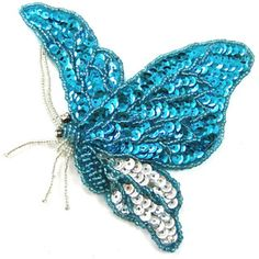 """Butterfly Turquoise and Silver Beads and Sequins 4"""" x 5.5"""""""