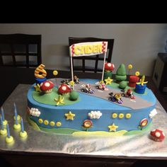 Just finished this Mario Kart cake!