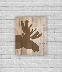 Moose silhouette, Moose Stencil, Moose head, Wooden boards, Printable wall art, 8х10, instant download
