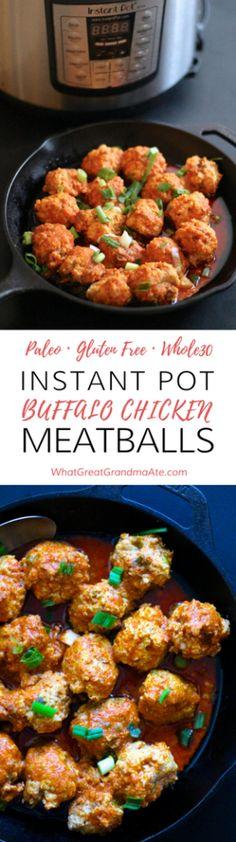 Paleo Instant Pot Buffalo Chicken Meatballs (Whole30, Gluten Free) via @whatggmaate