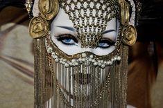 MADE TO ORDER Chain Face Sci-fi Fantasy Burning Man Zipper Black Gaga costume headdress feather headpiece wig cosplay gas mask steampunk