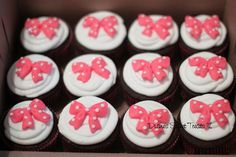 pink polka dot bow cupcakes by Diane's Sweet Treats - (Diane Burke), via Flickr