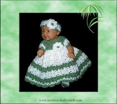 Crochet Baby Dress baby dress doll clothes  preemie clothes  crochet baby...