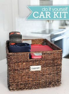 DIY Car kit: Prepare a good sized wicker basket with two plastic boxes for the smaller items in. The remaining space can be a good storage for other bigger things, like a blanket, bottles, a first aid kit or anything else. http://hative.com/storage-organization-ideas-for-your-car/