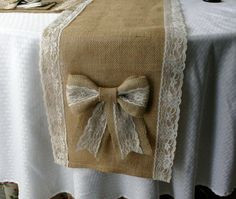 WEEKEND SALE Burlap and lace table runners French by Bannerbanquet, $22.50