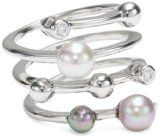 Majorica 4mm Multi-Pearls with Cubic Zirconia on Endless Sterling Silver or 18K Gold Vermeil Ring, Size 7 $105.00