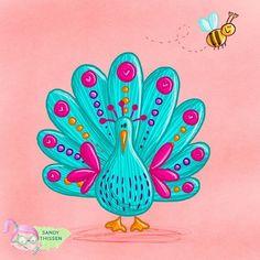 Ein schöner Pfau im bunten Federkleid. Bunte Federn. Biene. Illustration Zeichnung für Kinder