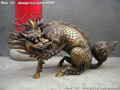 Chinese Royal Superb Pure Bronze Dragon kylin Kirin beast Palace Statues