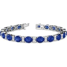 Allurez Diamond & Oval Cut Sapphire Tennis Bracelet 14k White Gold... ($10,310) ❤ liked on Polyvore featuring jewelry, bracelets, 14k bangle, fancy jewelry, tennis bracelet, 1920s jewelry and white gold tennis bracelet