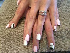 Light pastel, white hologram glitter and black stripes