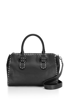 """Midnighter Large Satchel - It's not a work bag, it's a """"career bag."""" This super roomy leather satchel fits everything you need for your day-to-day routine and is secured by a top zipper. Then we lined the whole thing in studs for some freshness. Use the top handles for boss lady vibes, or sling the detachable strap crossbody when you're just being one of the cool kids. Style #: XSP7EMIS68    Exclusively available at RebeccaMinkoff.com and Rebecca Minkoff stores."""