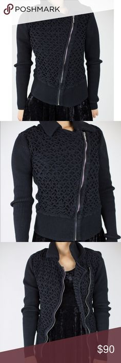 White House Black Market Asymmetrical Black Jacket This is a stylish jacket to go over anything. I love the honeycomb detail and the asymmetrical zipper. Make this yours today! I have one in white that I am selling as well. If you buy both I am willing to do 150 for both! (Both in excellent condition!) White House Black Market Jackets & Coats