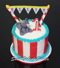 Elephant, smash cake idea, 1st birthday cake, circus theme