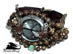 Wide leather bracelet with the watch Fairy Old Oak