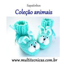 Sapatinho - Coleção bichos  Coelho  Feito em crochê, com lã para bebê.  Cor: verde água     Tamanho: 2 a 6 meses R$ 25,00