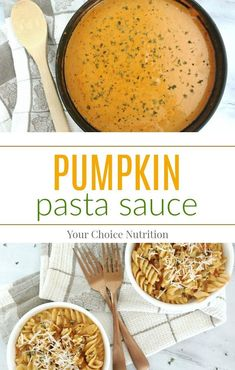 Pumpkin Pasta Sauce - Your Choice NutritionThis Pumpkin Pasta Sauce is a savory blend of pumpkin and tomatoes. Serve over your favorite pasta or even sautéed vegetables! Gourmet Recipes, Vegetarian Recipes, Cooking Recipes, Healthy Recipes, Healthy Foods, Savory Pumpkin Recipes, Vegetable Recipes, Pumpkin Foods, Pumpkin Pasta Sauce