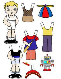 little boy paper doll digital download by DigitalGraphicsShop