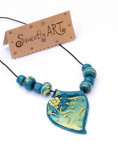 Unique Necklace Green Fantasy of polymer clay by SweetlyART, $35.00