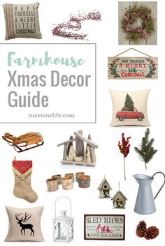 Farmhouse Xmas Decor Guide - Are you looking for some great Farmhouse Christmas decor?  Then check out this shopping guide!  Click through or repin for later.  www.meetourlife.com | beautiful Christmas Decor | farmhouse Christmas |