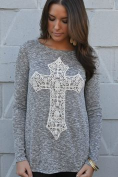 This is adorable! Help me find this exact sweater with lace cross!
