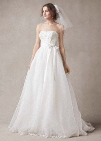 Strapless Organza Ball Gown with Floral Appliques