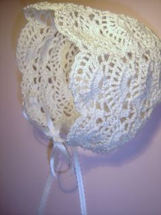 Very cute crochet bonnet.  Beautiful for Christening a new baby! This is a made to order bonnet - no pattern. :(