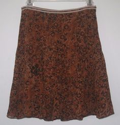 Lapis Brown Silk Skirt Medium Lined Knee Length A Line M #Lapis #Anthropology #fashion