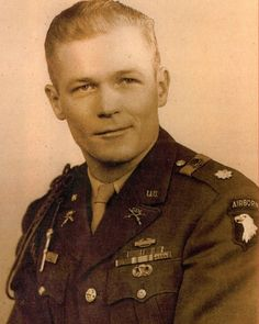 """Major Richard 'Dick' Winters. 1918-2011 One of the greatest leaders to lead his men in battle in WWII. A story portrayed in """"Band of Brothers"""". A true hero."""