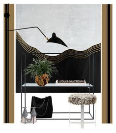 """""""Yang Graphic art..."""" by gloriettequartet ❤ liked on Polyvore featuring interior, interiors, interior design, home, home decor, interior decorating, Home Decorators Collection, Serge Mouille, Barneys New York and Gucci"""