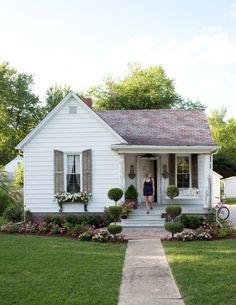 Little White House With Grey Shutters Small Cottage Plans Brick Front
