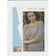 4e3ab72599651a Knitting Pattern - Patons 7442 - Teens Lady s Cotton DK Cabled Sweater 30-38