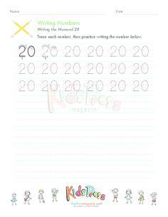 Writing Numbers: 20 - KidsPressMagazine.com #writing #tracing #printing #numbers #20