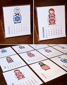 letterpress calendar with Russian nesting dolls