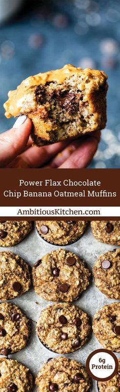 Fluffy and delicious chocolate chip banana oatmeal muffins made with wholesome ingredients like Coach's Oats, Greek yogurt and flaxseed meal. They're perfect for a quick breakfast or snack on-the-go!