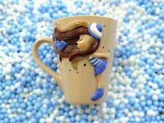 Купить или заказать Кружка с декором 'Lovepink' в интернет-магазине на Ярмарке Мастеров. Керамическая кружка украшенная декором из полимерной глины. Фигурка вылеплена вручную, с тонировкой акрил.красками и контуром по керамике. покрыта лаком. Очень милый подарок на любой случай.