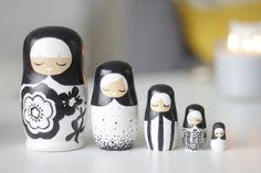 Set of Black & White Nesting Dolls by IrenkaPetrarca on Etsy