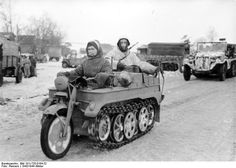 """German soldiers on a """"KettenKrad"""" . Russian front . Winter 1943.44."""